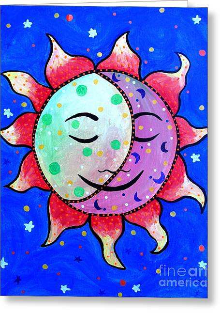 Best Seller Greeting Cards - Midnight Sun And Moon Greeting Card by Pristine Cartera Turkus