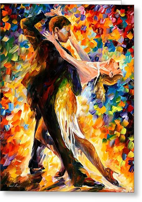 Tango Greeting Cards - Midnight Tango Greeting Card by Leonid Afremov