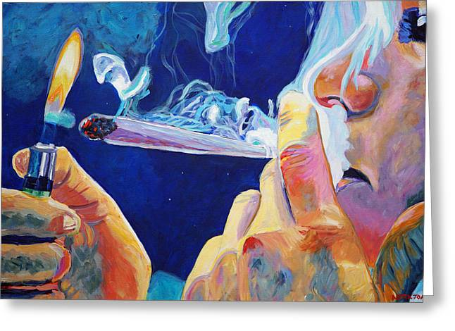 Smoking Greeting Cards - Midnight Toker Greeting Card by Anita Toke