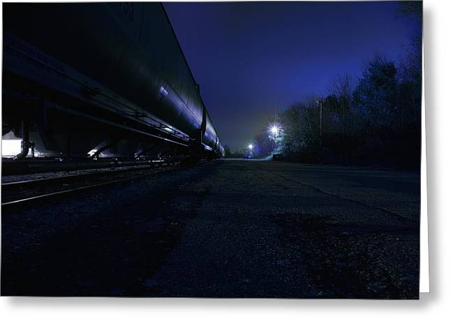 Rail Greeting Cards - Midnight Train 1 Greeting Card by Scott Hovind