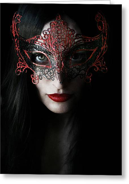 Black Hair Greeting Cards - Midnight Greeting Card by Wojciech Zwolinski