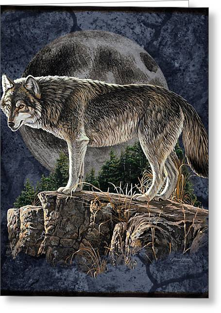 Howl Greeting Cards - Midnight Wolf Greeting Card by JQ Licensing