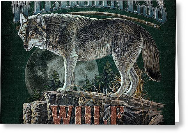 Midnight Wolf Sign Greeting Card by JQ Licensing