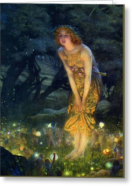Museum Paintings Greeting Cards - Midsummer Eve Greeting Card by Edward Robert Hughes