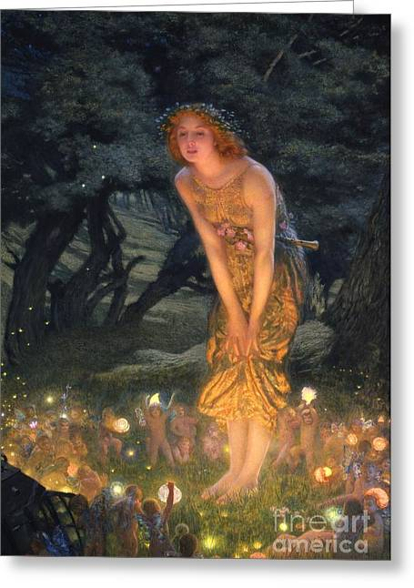 Night Lamp Greeting Cards - Midsummer Eve Greeting Card by Edward Robert Hughes