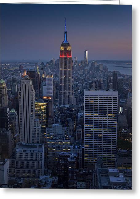 Freedom Towers Greeting Cards - Midtown Freedom Greeting Card by Rick Berk