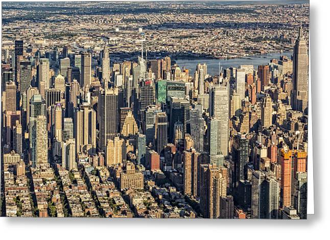 Chrysler Building Greeting Cards - Midtown Manhattan NYC Aerial View Greeting Card by Susan Candelario