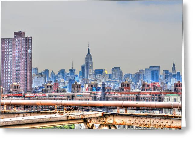 Midtown Greeting Cards - Midtown Manhattan Skyline from the Brooklyn Bridge Greeting Card by Randy Aveille