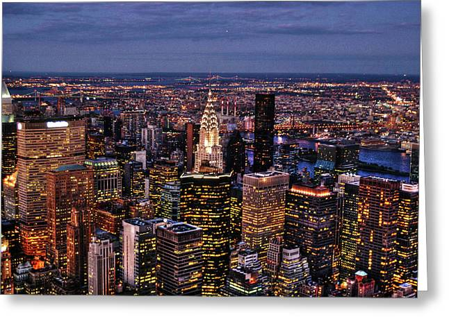 Nyc Architecture Greeting Cards - Midtown Skyline at Dusk Greeting Card by Randy Aveille