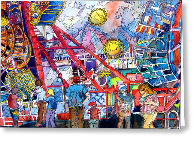 Amusements Mixed Media Greeting Cards - Midway Amusement Rides Greeting Card by Mindy Newman