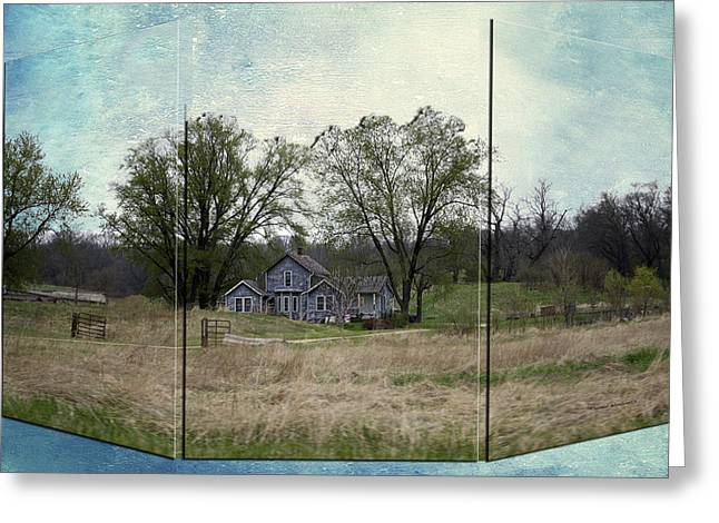 Shed Mixed Media Greeting Cards - Midwest Country Living Triptych 3 Panel 03 Greeting Card by Thomas Woolworth
