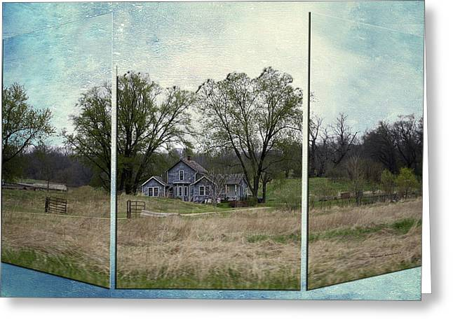 Shed Mixed Media Greeting Cards - Midwest Country Living Triptych 3 Panel 04 Greeting Card by Thomas Woolworth