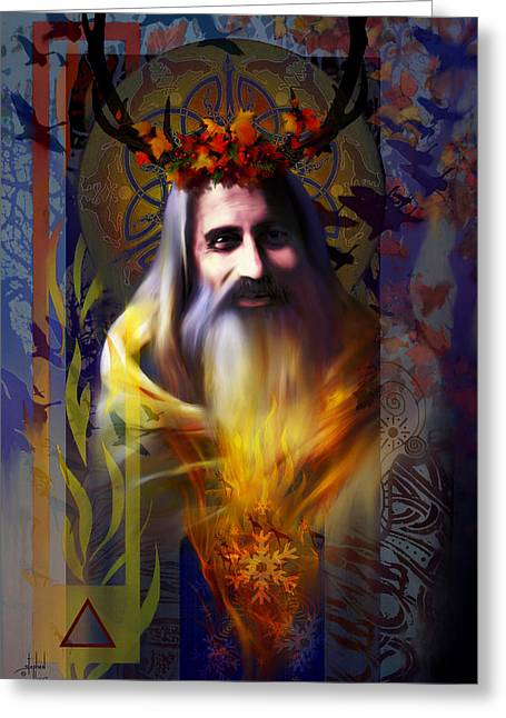 Wiccan Greeting Cards - Midwinter Solstice Fire Lord Greeting Card by Stephen Lucas