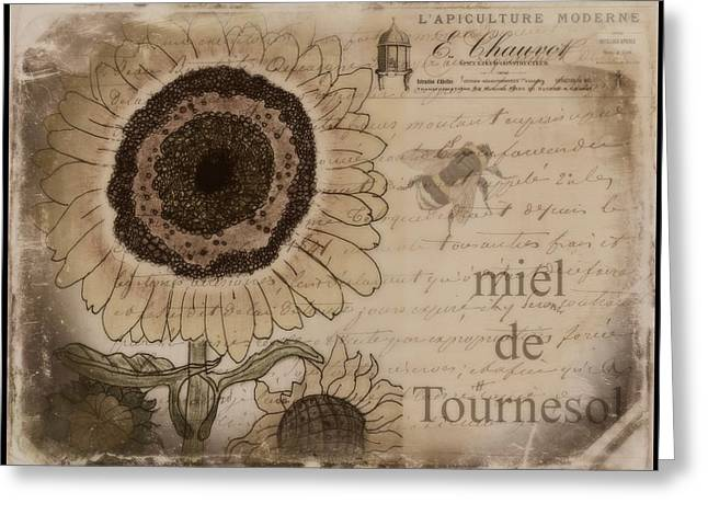 Miel Greeting Cards - Miel de Tournesol  Greeting Card by Joely  Rogers
