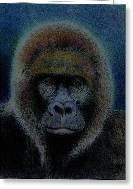 Gorilla Drawings Greeting Cards - Mighty Gorilla Greeting Card by Arline Wagner