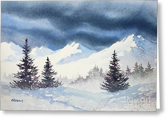 Impressionist Greeting Cards - Mighty Mountains Greeting Card by Teresa Ascone