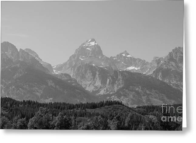 Landscape Framed Prints Greeting Cards - Mighty Tetons Grayscale Greeting Card by Jennifer White