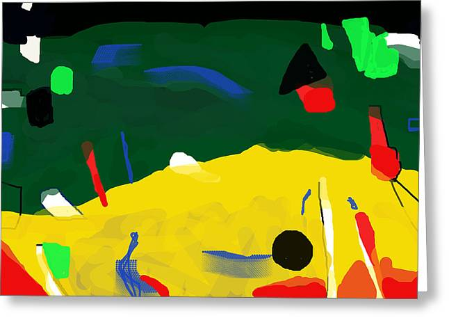 Monolith Drawings Greeting Cards - Migrant Beach   After Miro  Greeting Card by Paul Sutcliffe