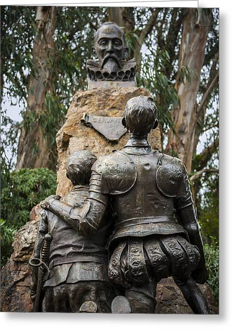 Don Quixote Greeting Cards - Miguel de Cervantes Memorial Greeting Card by Anthony Citro
