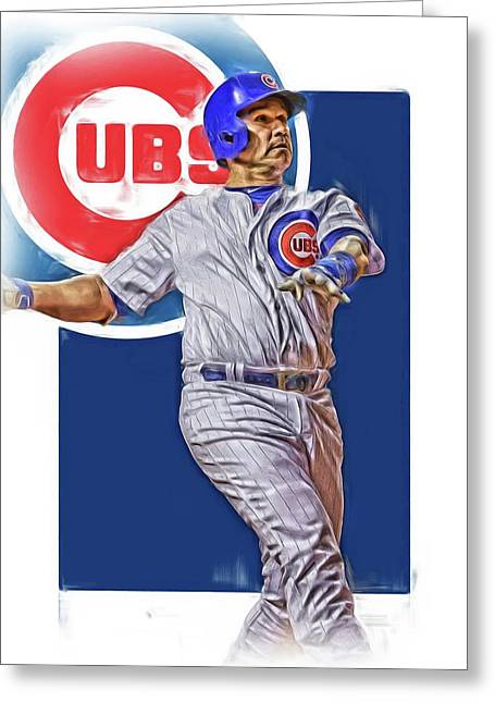 Miguel Montero Chicago Cubs Oil Art Greeting Card by Joe Hamilton