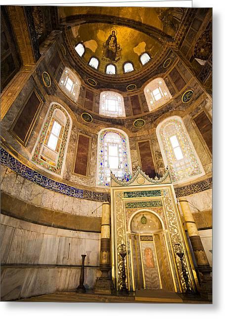 Hagia Sofia Greeting Cards - Mihrab in the Hagia Sophia Greeting Card by Artur Bogacki