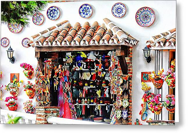 Andalucia Mixed Media Greeting Cards - Mijas  Greeting Card by Clare Bevan