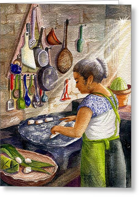 Mika, The Tamale Maker Greeting Card by Marilyn Smith