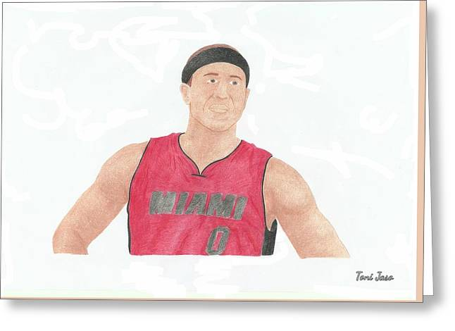 Slam Drawings Greeting Cards - Mike Bibby Greeting Card by Toni Jaso