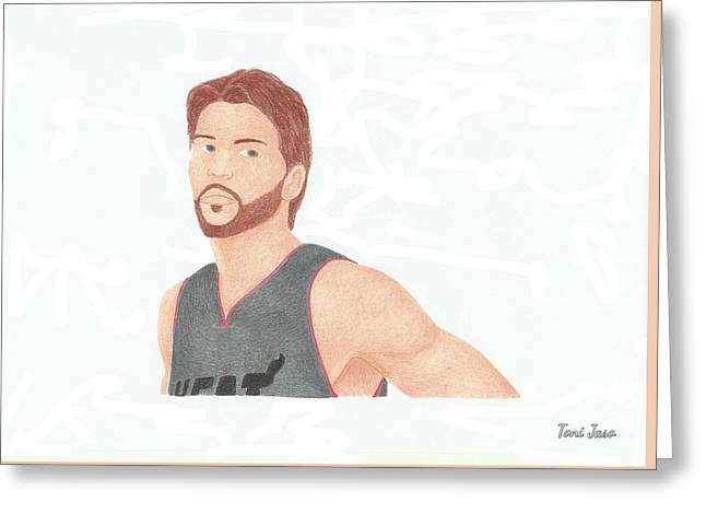 Slam Drawings Greeting Cards - Mike Miller Greeting Card by Toni Jaso