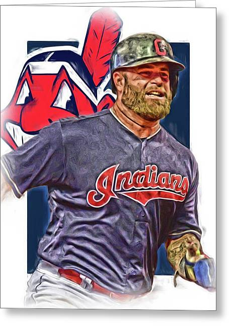 Mike Napoli Cleveland Indians Oil Art Greeting Card by Joe Hamilton