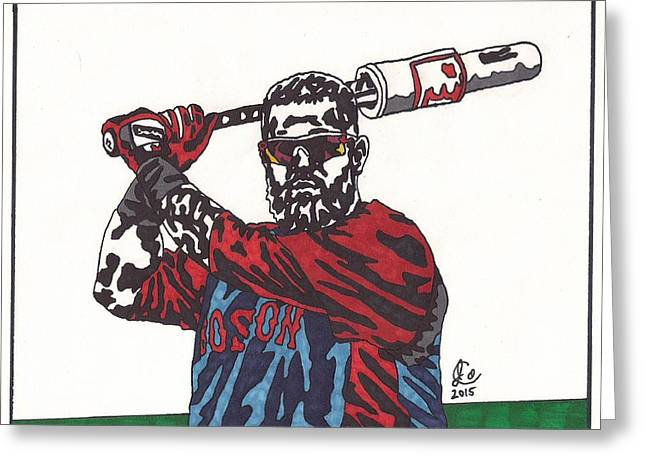 Boston Red Sox Greeting Cards - Mike Napoli Greeting Card by Jeremiah Colley