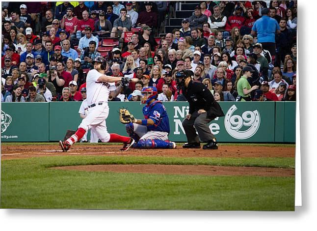 Boston Ma Greeting Cards - Mike Napoli Red Sox Greeting Card by Monica Benvenuti