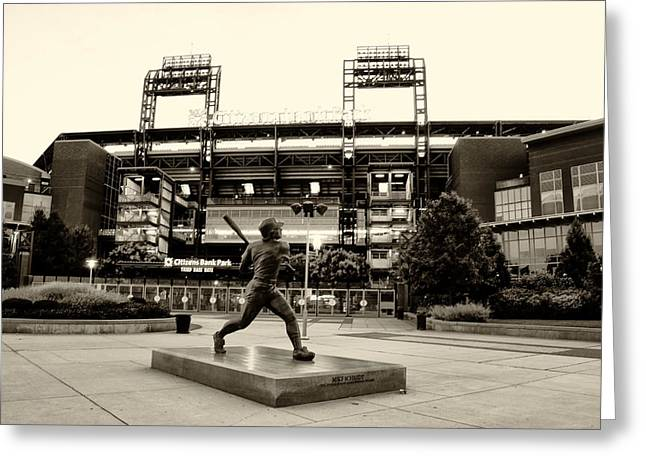 Citizens Bank Digital Art Greeting Cards - Mike Schmidt in Sepia Greeting Card by Bill Cannon
