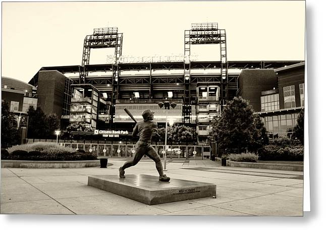 Philadelphia Phillies Stadium Digital Greeting Cards - Mike Schmidt in Sepia Greeting Card by Bill Cannon