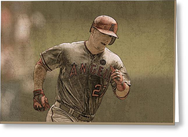 Trout Mixed Media Greeting Cards - Mike Trout Anaheim Angels Painting Greeting Card by Design Turnpike
