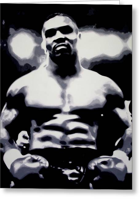 Mike Tyson Greeting Card by Luis Ludzska