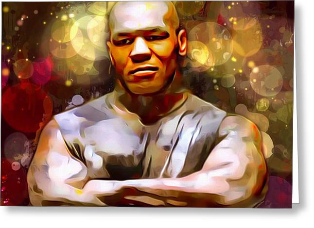 Mike Tyson Portrait  Greeting Card by Scott Wallace