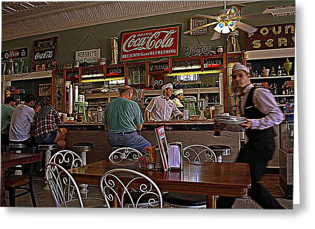 Main Street Greeting Cards - Mikes on Main Hendersonville NC Soda Fountain and Lunch Greeting Card by Kathy Barney