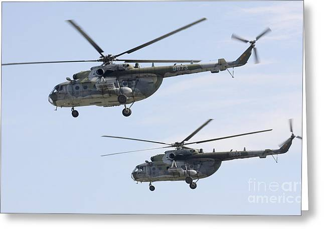 Hradec Greeting Cards - Mil Mi-17 Helicopters Of The Czech Air Greeting Card by Timm Ziegenthaler