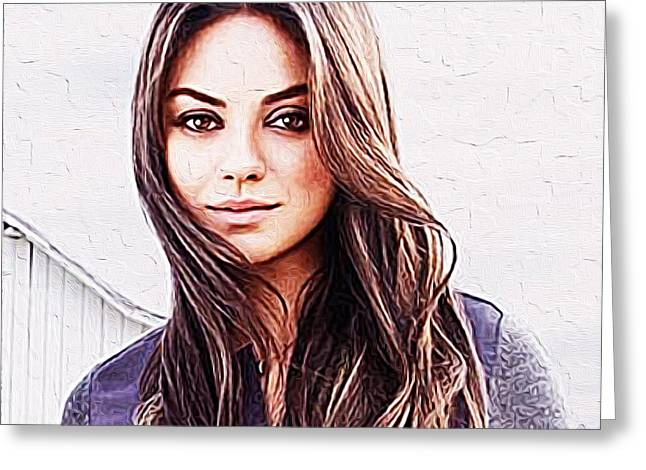 Mila Kunis Greeting Cards - Mila Kunis Greeting Card by Queso Espinosa