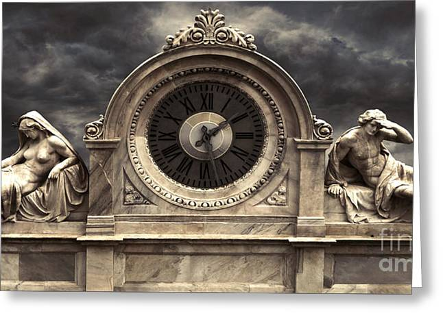 Milan Clock Greeting Card by Gregory Dyer