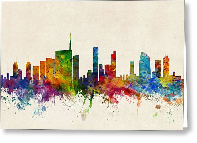 Milano Greeting Cards - Milan Italy Skyline Greeting Card by Michael Tompsett
