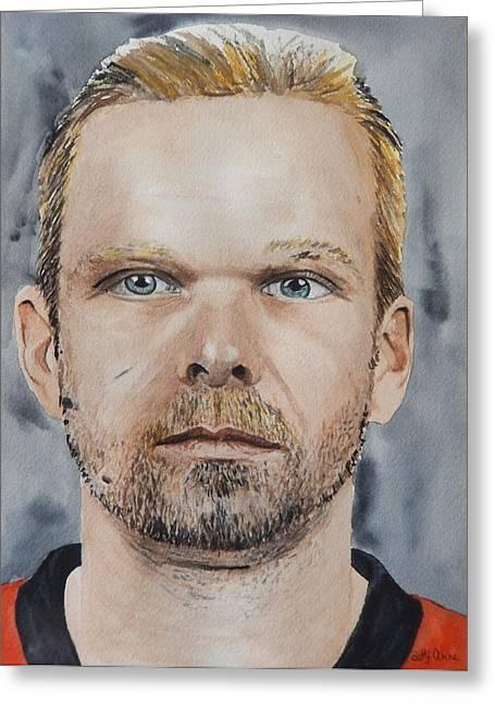 Hockey Paintings Greeting Cards - Milan Michalek Greeting Card by Betty-Anne McDonald