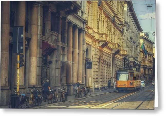 Milan Public Transport Greeting Card by Chris Fletcher