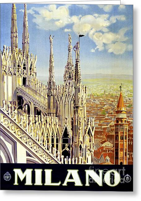 Europe Mixed Media Greeting Cards - Milano Italy Vintage Travel Poster Restored Greeting Card by Carsten Reisinger
