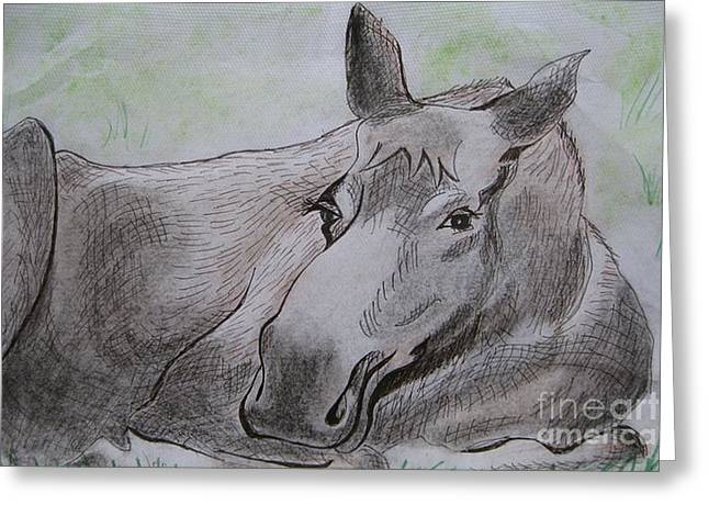 Stella Sherman Greeting Cards - Mildred the Moose Resting Greeting Card by Stella Sherman