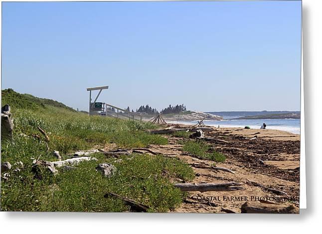 Maine Beach Greeting Cards - Mile Beach Greeting Card by Becca Brann