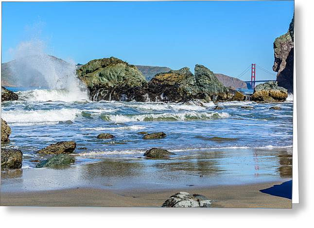 Ocean. Reflection Greeting Cards - Mile Rock Beach Greeting Card by Cristi Canepa