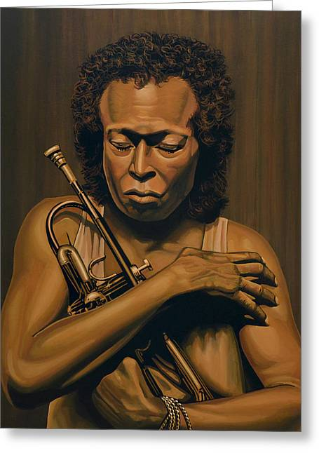 Miles Davis Painting Greeting Card by Paul Meijering