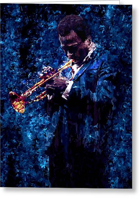Leon Jimenez Greeting Cards - Miles Davis Signed Prints available at laartwork.com Coupon Code KODAK Greeting Card by Leon Jimenez